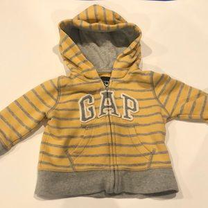 Baby GAP Striped Zip Up Hooded Sweatshirt